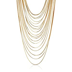 Long Multi-Row Nested Chain Strand Necklace, 24.5