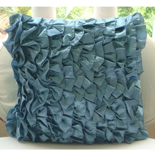 Vintage Beauty - 24X24 Inches Square Decorative Throw Blue Satin Sham Covers With Satin Ruffles front-868823