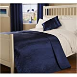 Double Quilted Passionate Faux Silk Bedspread in Blue