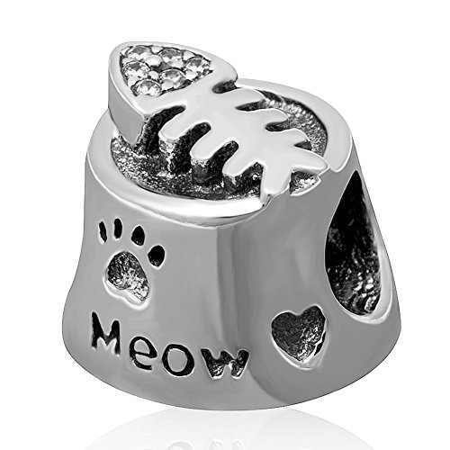 Meow gatto ciotola Ciondolo Pesce In Argento Sterling 925 con zirconia cubica Pet Paw Print perline compatibile con 3 mm Serpente Braccialetto a catena