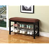 Black / Chocolate  Micro Fabric Kings Brand Shoe Rack Bench  & Organizer