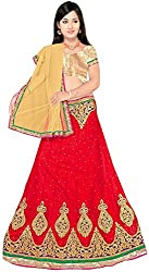 Jay Ambe Creation Women's Viscose Dress Material(dno138a_Red & Cream_Free Size)
