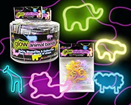 Glow Jungle Animals Rubber Bands - 24 Packs