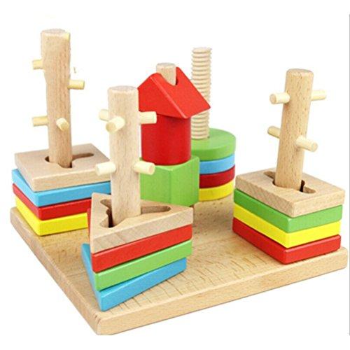 BESTOYARD-Wooden-Sort-Building-Blocks-Set-For-Kids-Creative-Colorful-Geometry-Column-Shape