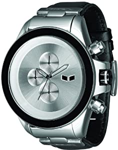 Vestal Men's ZR3L001 ZR-3 Silver Minimalist Chronograph Black Leather Watch