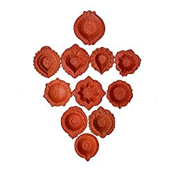 The Himalaya Craft eco haat set of 11 Traditional Handmade Earthen Clay / Terracotta Decorative Dipawali / Diwali Diya / Oil Lamps for Pooja / Puja to brighten your home this Diwal (randomaly diya)