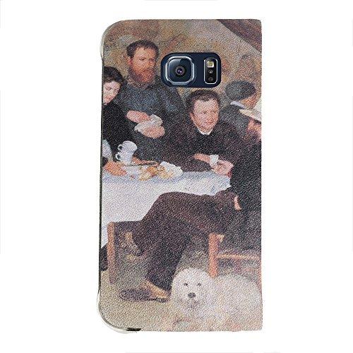 Renoir - The Cabaret Of Mm Antony, Portafoglio Mesh Flip Custodia Protectiva in PU Pelle Wallet Case Cover Shell Nero con Design Colorato per Samsung Galaxy S6 Edge G9200.