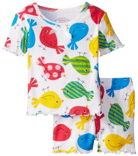 Sara'S Prints Little Girls' Little Girls' Fitted Short Pajamas, Pretty Birds, 3