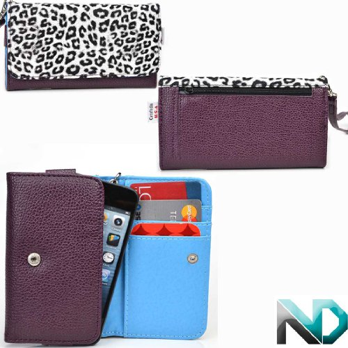 Nokia Lumia 521 Smartphone Wristlet [Leopard Print And Deep Plum - Electric Blue ] Universal Fit & Nextdia Cable Strap