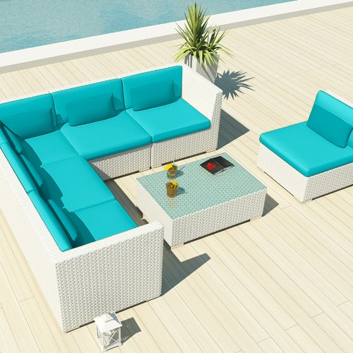 Uduka Outdoor Sectional Patio Furniture White Wicker Sofa Set Luxor Turquoise