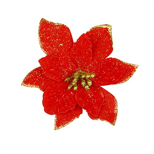 6pcs 5 Inch Glitter Artificial Wedding Christmas Flowers Xmas Tree Wreaths Decor Ornament Red