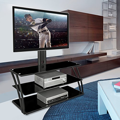 Mount-It! MI-864 TV Stand Entertainment Center with Mount and Storage Shelves, Fits 32 to 60 Inch Screens, VESA 100x100 to 600x400, Glass Shelving, 88 Lbs, Black (55 Inch Tv Stand With Mount compare prices)