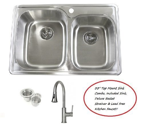 33 Inch Stainless Steel Top Mount Drop In 60/40 Double Bowl Kitchen Sink and Lead Free Faucet Combo - 18 Gauge