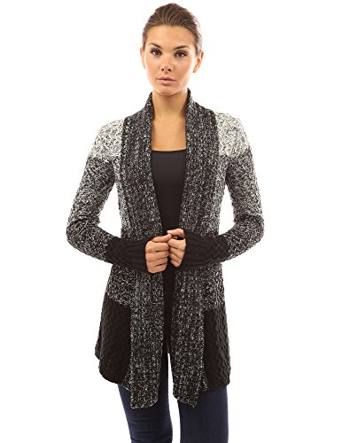 PattyBoutik Women's Gradient Color Marled Cardigan (Black and White M)