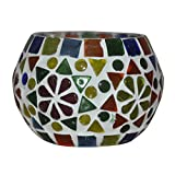 HND00666 Hand-Painted Indian Designer Glass Diya Candle Holder