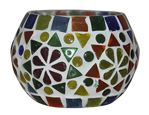 HND00666 Hand-Painted Indian Designer Glass Diya Candle Holder