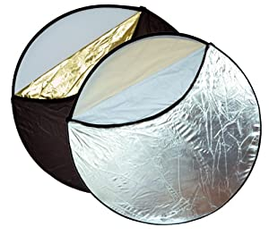 """Opteka 43"""" 5-in-1 Collapsible Disc Reflector, Translucent, White, Black, Silver, Gold, with Carrying Case"""