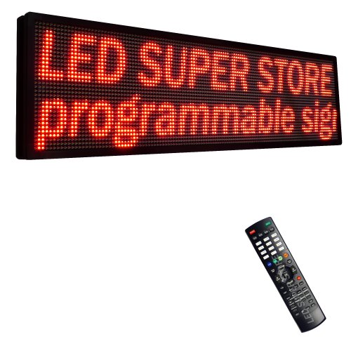 """Led Super Store Signs 1 Color (Red) 22"""" X 60"""" - Programmable Scrolling Display, Storefront Message Board - Industrial Grade Business Tools, Emc"""