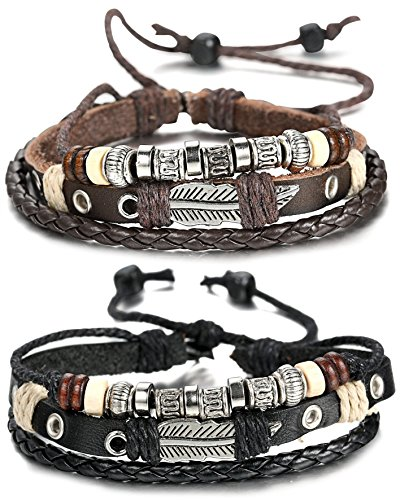 FIBO STEEL Leather Charm Bracelet for Men Braided Wrist Cuff Vintage, 2 Pcs a Set
