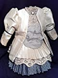 Antique reproduction bleuette dress; Antique Reproduction Doll Dress; handmade; collectible doll dress; doll clothe; silk doll dress; underskirt with old lace
