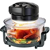 Black Halogen Oven Cooker for healthy and fast cooking includes �50 of accessories includes extender ring, lid holder, low rack, high rack, forks, frying pan, steamerby Puregadgets