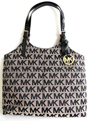 Michael Kors Signature MK Logo Pocket Tote Handbag, Black/Patent