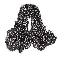 eFuture(TM) Fashion Soft Chiffon Apricot Cat Prints Ladies /Women Long Scarf Shawls-Black +eFuture's nice Keyring
