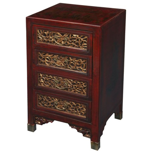 Cheap EXP Handmade Oriental Furniture – 31″ Antique Style Red Leather End Table / Cabinet With Bas-Relief (B0027WEYFG)
