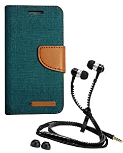 Aart Fancy Wallet Dairy Jeans Flip Case Cover for MotorolaMotoE (Green) + Zipper Earphones/Hands free With Mic *Stylish Design* for all Mobiles- computers & laptops By Aart Store.