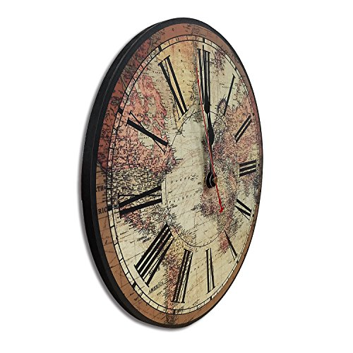 iCasso World Map Vintage French Country Tuscan Style Non-Ticking Silent Wood Wall Clock (12 inch World Map) 1