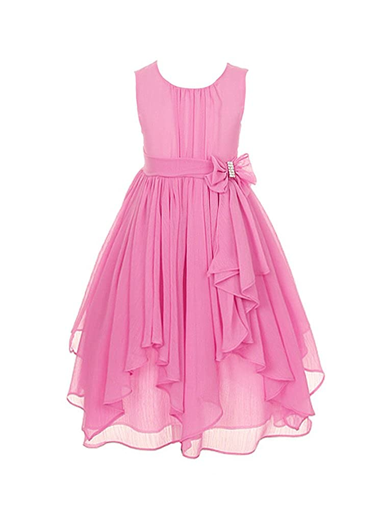 DressForLess Yoryu Chiffon Asymmetric Ruffled Flower Girl Dress