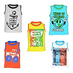 Orange and Orchid Boys Casual Printed Cotton Round Neck Sleeveless T-Shirt - Pack of 5