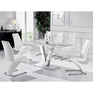 Venus Large White Glass Dining Table + 6 White Z Chairs ...