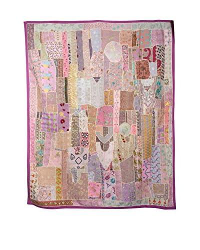 Uptown Down One-of-a-Kind Patchwork Blanket of Vintage Tribal Collars, Pink/Purple