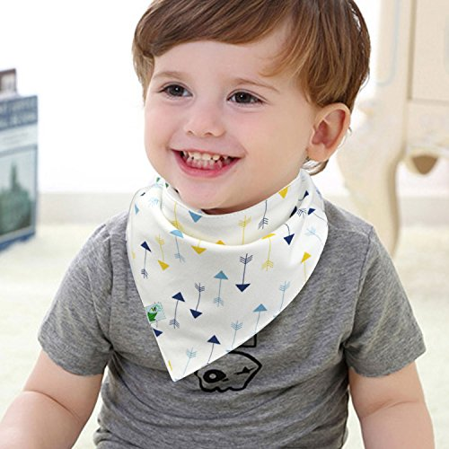 Baby Bandana Bibs, Unisex 4 Pack Cute Bib with Snaps – Best for Babies Drooling, Teething and Feeding – 100% Soft Cotton & Waterproof Fleece Backing. Perfect Baby Shower Gift Set for Boys & Girls