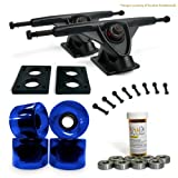 LONGBOARD Skateboard TRUCKS COMBO set w  71mm WHEELS + 9.675 Polished Black trucks Package... by Yocaher