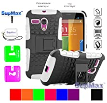 buy Motorola Moto G Case,Moto G Cover Case,Supmax™ *Hybrid Rubberized* *Tpu+Pc* Scratchproof Shockproof Skidproof Impact Resistant Hard Shell With Kickstand [Gifts] For Motorola Moto G (White)