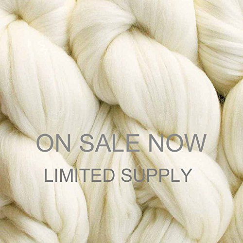 Living Dreams Merino Superwash Super Bulky Yarn. Pencil Roving Wool for Needle Knitting, Crochet and Hand Dying. 4 Ounce 65 Yards, Natural Undyed (Super Thick Yarn compare prices)