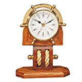 7 Brass Wheel Clock with Base Nautical Tropical Home Decor
