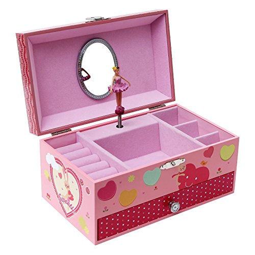 Songmics ballerina music jewelry box swan lake tune pink for Amazon ballerina musical jewelry box
