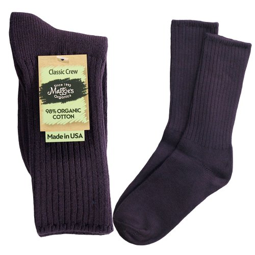 Maggies Functional Organics Eggplant Cotton Crew Sock 10 To 13 Size front-953947
