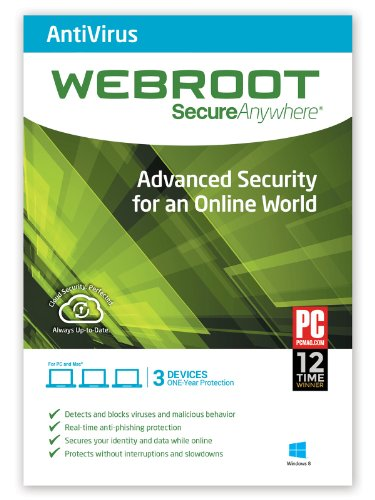 Webroot Antivirus 2017 | 3 Devices | 1 Year | PC [Download]