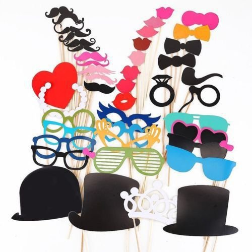 44 pcs oggetti di scena colorate su un bastone baffi Photo Booth divertimento per matrimoni feste e compleanni (Everything-cheap)