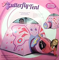 Butterfly Tent Indoor/Outdoor Collapsible Play Tent w/ Tunnel