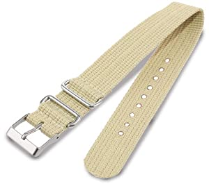 Timex T7B896 Weekender 20mm Tan Nylon Slip-Thru Watch Strap