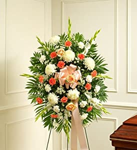 1800Flowers - Deepest Sympathy Standing Spray-Peach/Orange/White - Small