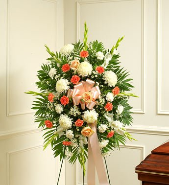 1-800-Flowers - Deepest Sympathy Standing Spray-Peach/Orange/White - Small