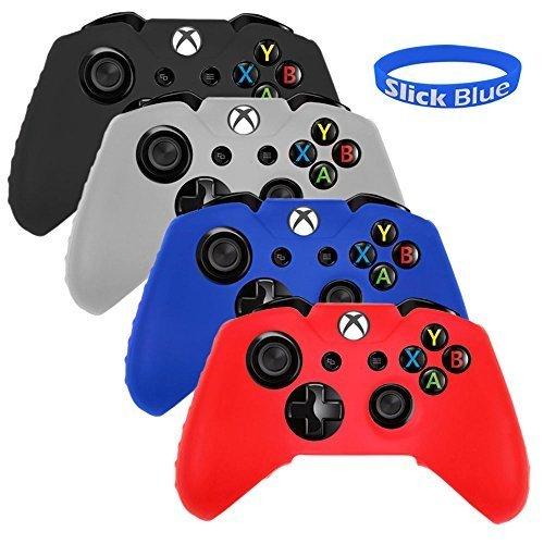 SlickBlue Pack of 4 Color Combo Flexible Silicone Protective Case For Xbox-One Game Controller – Black/Red/Blue/White [Xbox One]