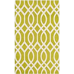 Safavieh Cedar Brook Collection CDR141B Handmade Lime and Ivory Cotton Area Rug, 2 feet 3 inches by 3 feet 9 inches (2\'3\