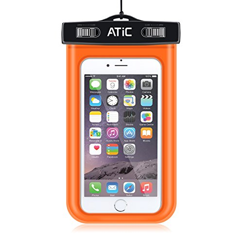 ATiC ストラップアームバンド式両用透明防水ケース - iPhone 6 / 6 Plus / 5 / 5S / 4 / 4S, Samsung Galaxy S6 / S6 Edge / S5 / S4 / S4 Active, Note 4, iPod Touch 3 / 4 / 5, HTC ONE X / ONE S Z520E / ONE M9, Windows Phone 8 ( ATT, T-Mobile, Verizon ), Motorola DROID RAZR / LG G2 / G3 / Droid Turbo, LG G Flex 2, Nexus 4 / Nexus 6, Nokia Lumia 920, 820, Sony Z1 / Z2 / Z3(5.7インチ以下の携帯)に適用ストラップアームバンド式両用防水 ケース。防水保護等級 : IPx8。ORANGE